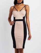 Charlotte Russe Colorblock Bustier Bodycon Dress