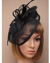 Inca Black Fascinator on Headband/ Clip-in for Weddings, Races and Occasions-5265