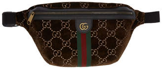 Gucci Brown Velvet GG Print Pouch