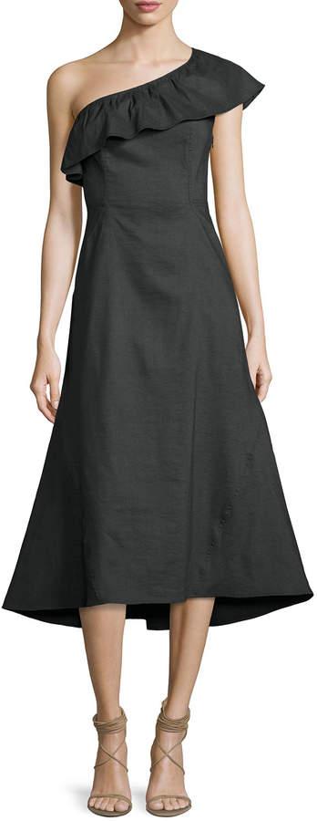 A.L.C. Evangeline Flared One-Shoulder Dress, Black