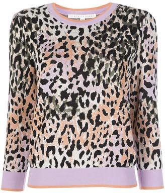 Veronica Beard Knitted Leopard Print Jumper