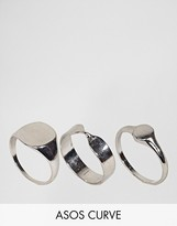 Asos Pack of 3 Sleek Sovereign and Twist Ring Pack