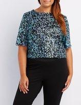 Charlotte Russe Plus Size Sequin Zip-Back Crop Tee