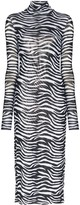 STAUD Zebra-Print Midi Dress