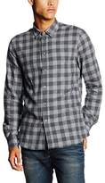 Filippa K Men's M. Pierre Gingham Regular Fit Long Sleeve Casual Shirt, Grey (Dk Grey M)