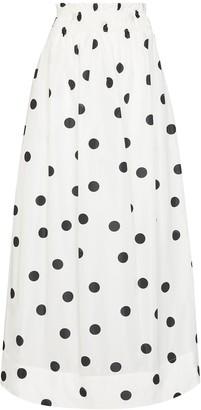 Ganni Polka-Dot Print Midi Skirt