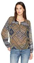 Lucky Brand Women's Printed Peasant Top In Olive Multi