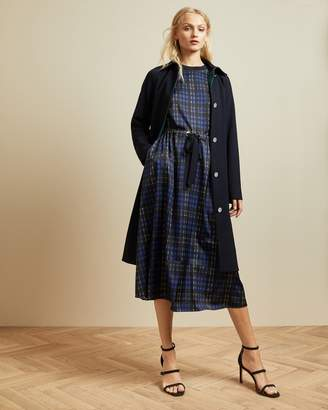 Ted Baker Checked Midi Dress With Drawstring Waist
