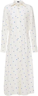 Joseph Turner Printed Ribbed Silk Midi Shirt Dress