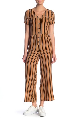 Hiatus Striped Button Front Jumpsuit