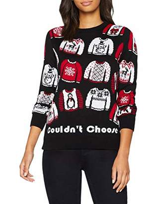 British Christmas Jumpers Choose Too Many Womens Christmas Jumper Black, (Size: L)