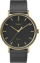 Timex Fairfield 41mm Gold/Black Leather Watch