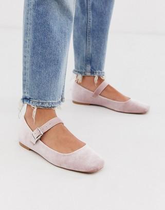 Asos Design DESIGN Links mary jane ballet flats in blush velvet-Pink