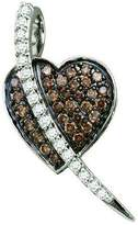 DazzlingRock Collection 0.53 Carat (ctw) 10k White Gold & White Diamond Ladies Micro Pave Heart Pendant
