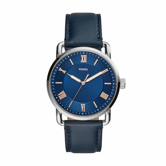 Fossil Men's Copeland Quartz Leather Three-Hand Watch Color: Silver/Blue Dial Brown (Model: FS5661)