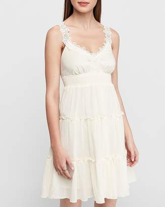Express Tiered Skirt Lace Trapeze Dress