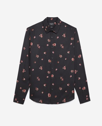 The Kooples Printed black shirt with classic collar