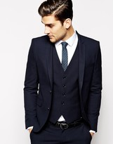 Selected Homme Lux Tonal Check Suit Jacket In Skinny Fit