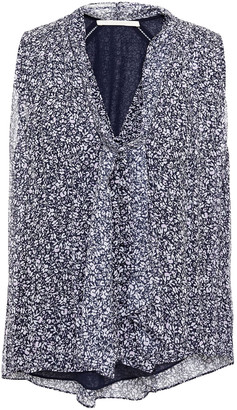 Jonathan Simkhai Tie-neck Gathered Printed Silk-crepon Top