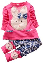TRURENDI Baby Girls Spring Long Sleeve Rabbit Bunny Shirt and Pants Outfit