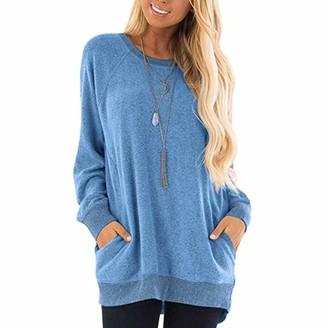 Toamen Women's Color Block Long Sleeve Tunic Tops Crew Neck Sweatshirt Pockets Loose Casual Blouse T Shirts(Blue 18)