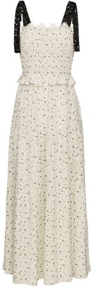 Ethereal London Ivory Zia Smock Tie Midi Dress