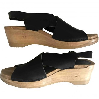 NO.6 STORE Store Black Leather Mules & Clogs