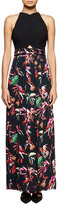 Proenza Schouler Tropical-Print Sleeveless Maxi Dress, Navy/Red/Pink