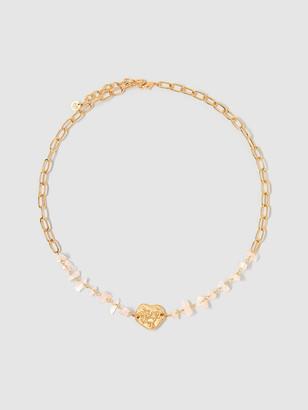 Tess + Tricia Bloom Stone Peony Leaf Necklace