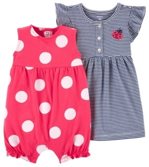 Carter's Baby Girls Romper and Dress Set, 2 Pieces