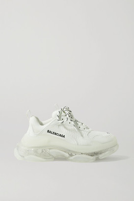 Balenciaga Triple S Clear Sole Logo-embroidered Leather, Nubuck And Mesh Sneakers - White