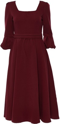 Wallis **Jolie Moi Burgundy Fit and Flare Midi Dress