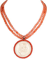 One Kings Lane Vintage Faux-Coral Cameo Pendant Necklace