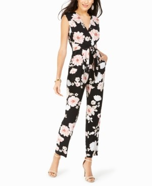 Jessica Howard Surplice Floral-Print Jumpsuit