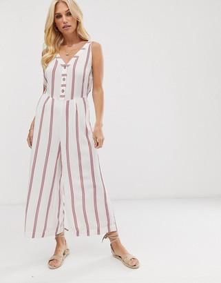 Vero Moda button down stripe culotte jumpsuit