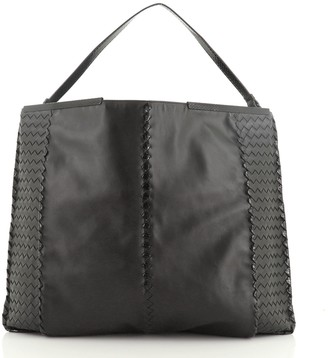 Bottega Veneta Frame Top Hobo Leather with Snakeskin and Intrecciato Detail XL