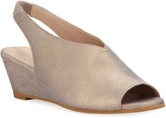 Eileen Fisher Clay Metallic Leather Slingback Wedge Sandals