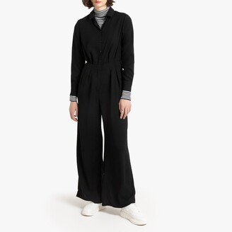 La Redoute Collections Wide Leg Jumpsuit with Shirt Collar