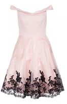 Quiz Pink Satin Embroidered Hem Bardot Dress