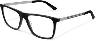 Gucci Square-Frame Acetate and Silver-Tone Optical Glasses - Men - Black