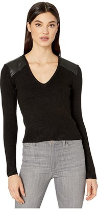 BCBGMAXAZRIA V-Neck Pullover (Black) Women's Clothing