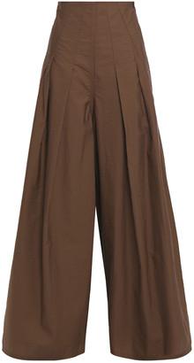 Brunello Cucinelli Pleated Cotton-blend Wide-leg Pants