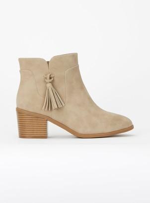 Evans WIDE FIT Brown Tassel Side Ankle Boots