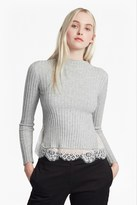 French Connection Nicola Rib Knit Lace Trim Jumper