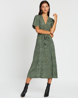 Whistles Anita Spotted Animal Frill Sleeve Dress