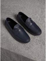 Burberry Grainy Leather Loafers with Engraved Check Detail , Size: 42, Blue