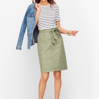 Talbots Embroidered Daisy A-Line Skirt- Twill