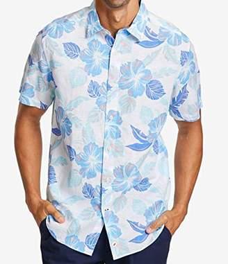 Nautica Men's Classic Fit Floral Print Linen-Blend Button Down Shirt