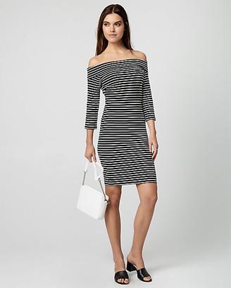 Le Château Stripe Ponte Knit Off-the-Shoulder Dress