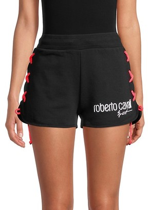 Roberto Cavalli Sport Side-Laced Fleece Shorts